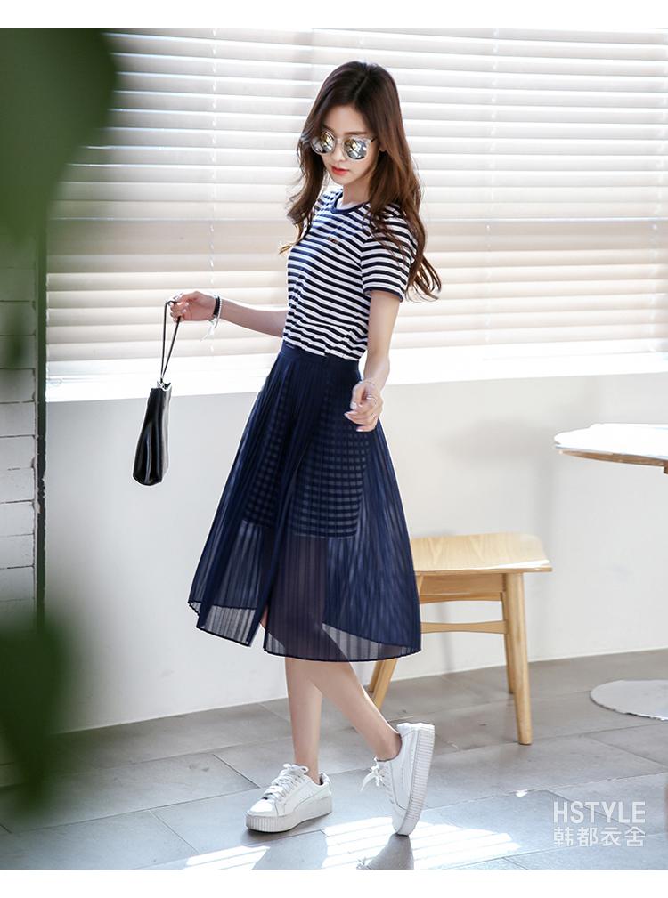 韩都衣舍2018夏装新款女装韩版雪纺套装裙两件套连衣裙