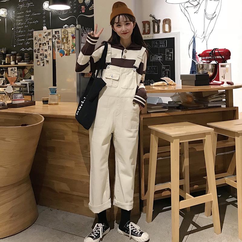 勾勾背带裤ins宽松牛仔裤春季2019新款冬季女装韩版高腰直筒裤潮