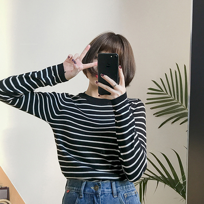 Autumn new Korean version of the College of wind wild striped knit shirt student long-sleeved T-shirt women's shirt