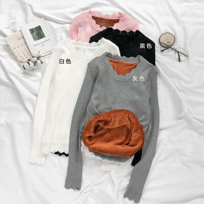 Winter Women's Korean plus cashmere thickened sweater lace collar Slim long-sleeved primer shirt students pull the hood tide