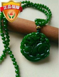 Spinach green mother and child double brave pendant Xinjiang Hetian green jade brave pendant natural jade sweater chain for men and women