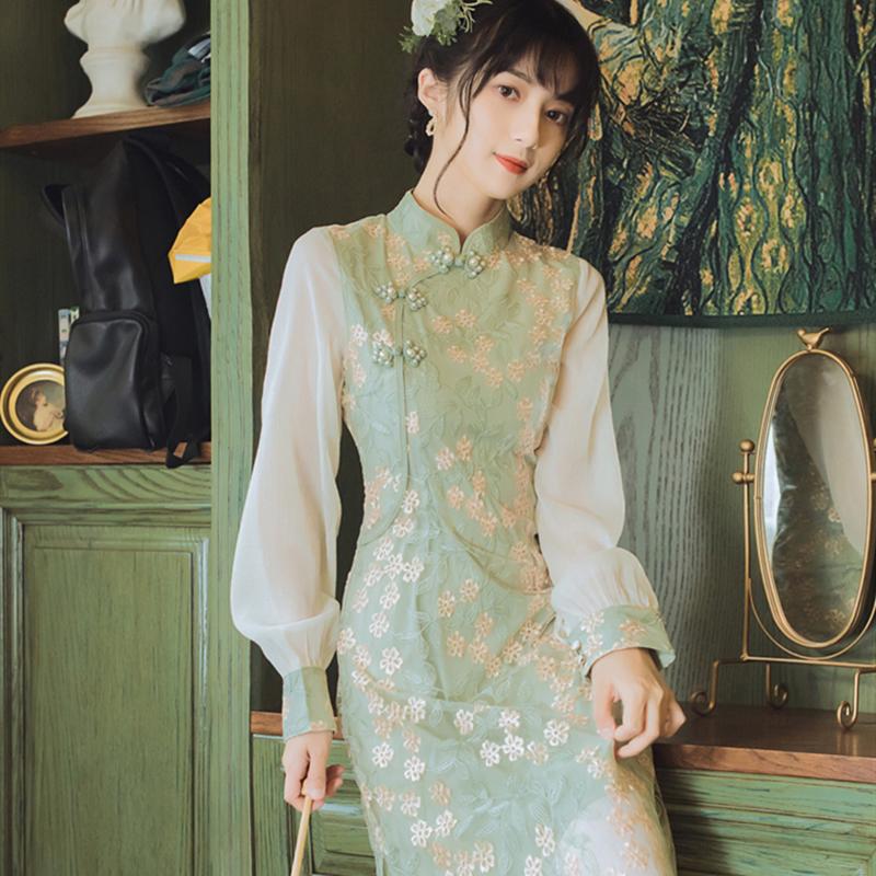 改良版旗袍年轻长款复古气质连衣裙