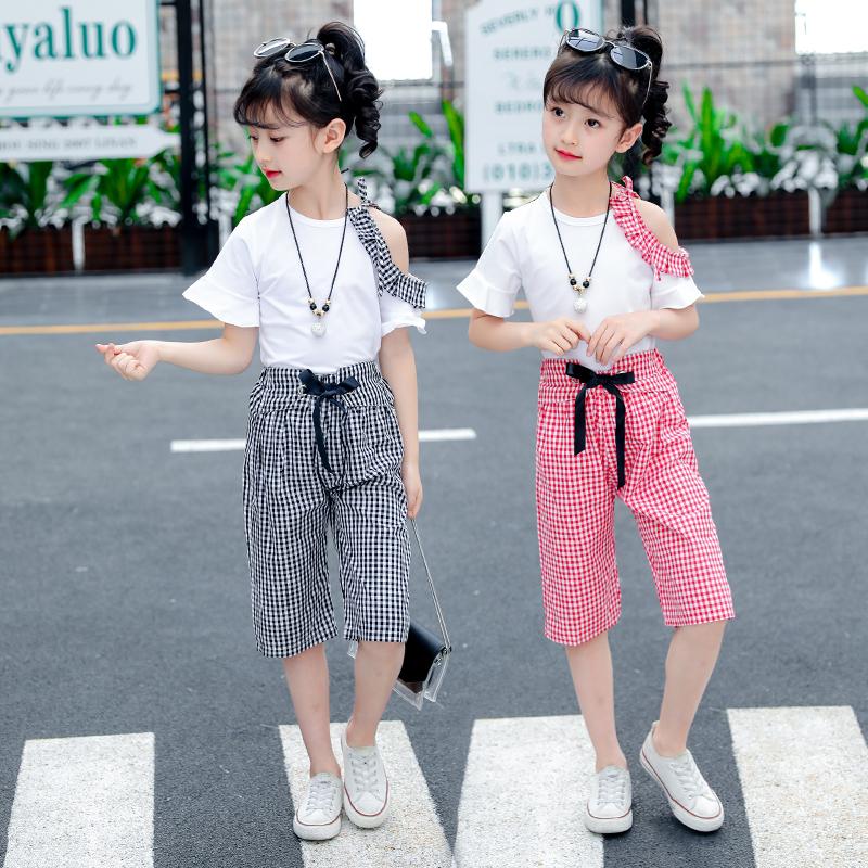 女童夏装套装2018新款时髦洋气中大儿童短袖夏季小女孩时尚两件套