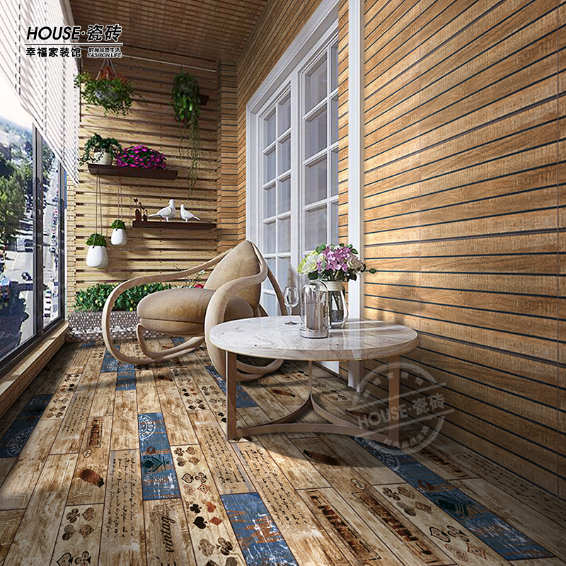 Usd 10 56 American Country Side Wood Print Antique Brick Balcony