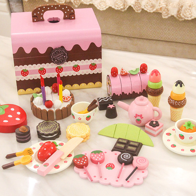 Awesome The New Childrens Wooden Play House Simulation Cake Cutting Girl Personalised Birthday Cards Vishlily Jamesorg