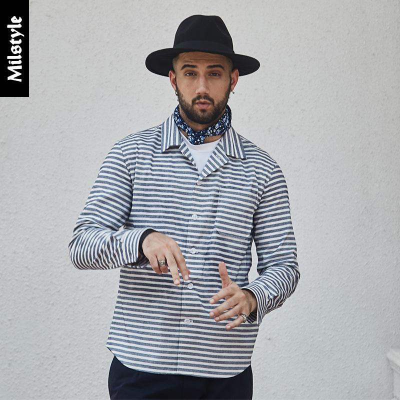 长袖Mil美式复古春季模范条纹牛津纺经典恤衫古巴领海军衬衫男