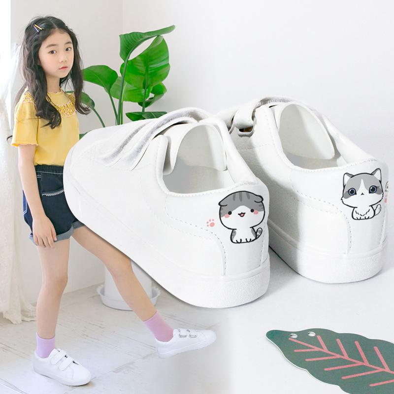 女童女孩小白鞋2019新款韩版春季小学生童鞋v女童鞋子儿童板鞋百搭