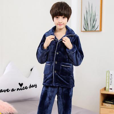 男童睡衣秋冬法兰绒小孩男孩家居服中大童长袖加厚儿童珊瑚绒套装