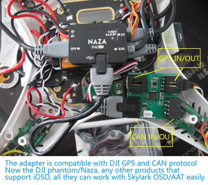 skylark osd adapter for dji naza lite v wookong a it use dji gsp data and can connect skylark tiny tiny hv trace rock osd aat module directly