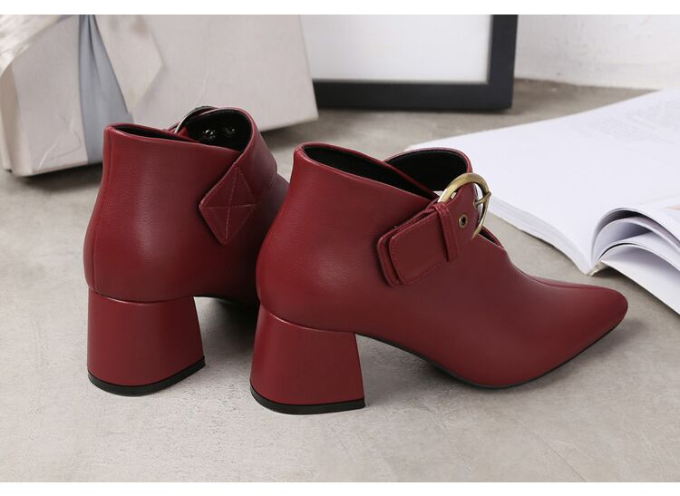European and American style with new leather retro boots deep V-neck pointed women's shoes buckle belt bare boots winter boots 102 Online shopping Bangladesh