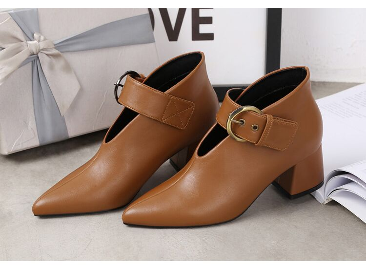European and American style with new leather retro boots deep V-neck pointed women's shoes buckle belt bare boots winter boots 106 Online shopping Bangladesh