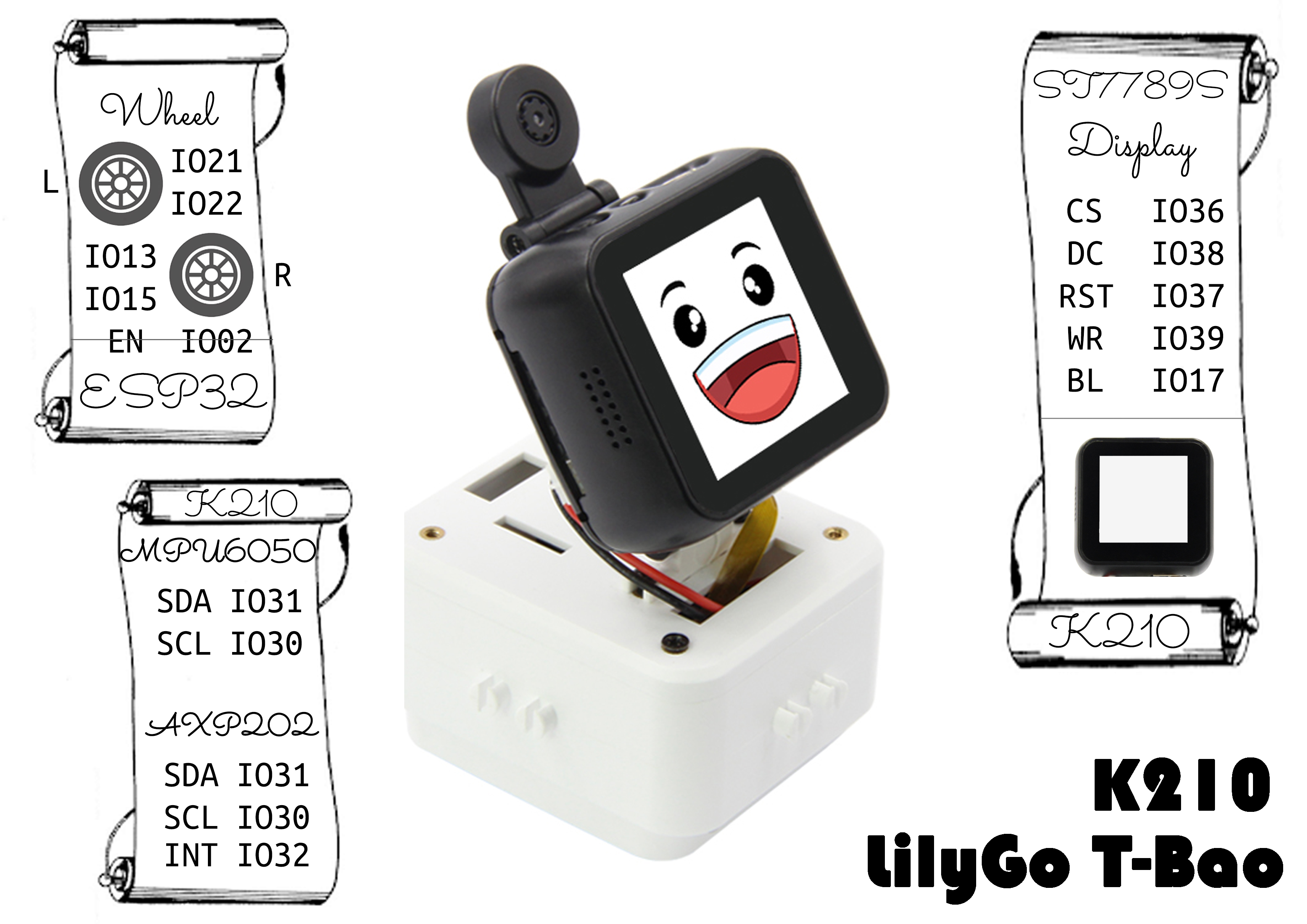 LILYGO® TTGO T-Bao T-WATCH K210 AIOT Programmable AI Car ESP32 WIFI Bluetooth 2MP OV2640 AI Camera