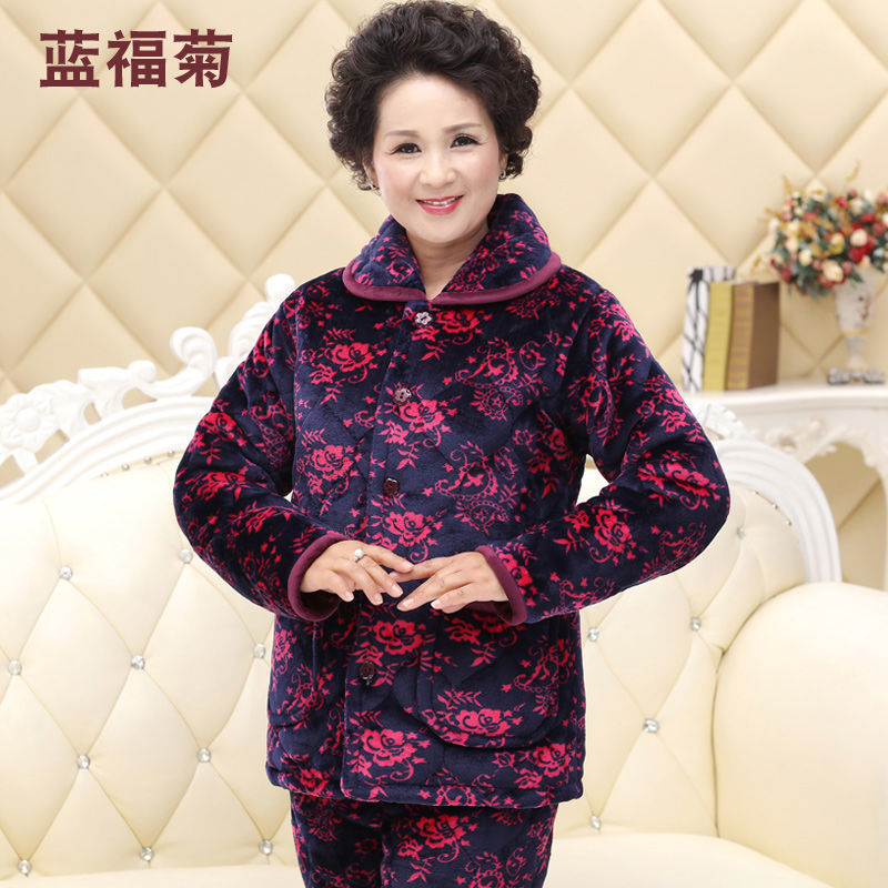 Winter ladies pajamas old man mother thickened warm home clothes two-piece set old woman cotton clothing cotton pants cotton wool
