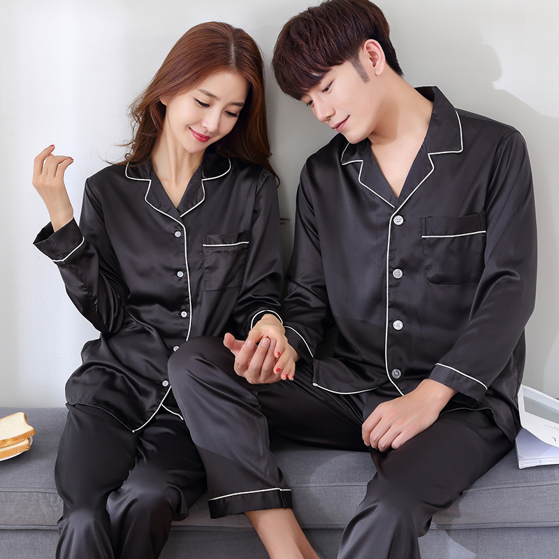 2017 Spring and Autumn season long sleeve black pajamas silk satin thin sweater couple boys and girls ice silk home clothes