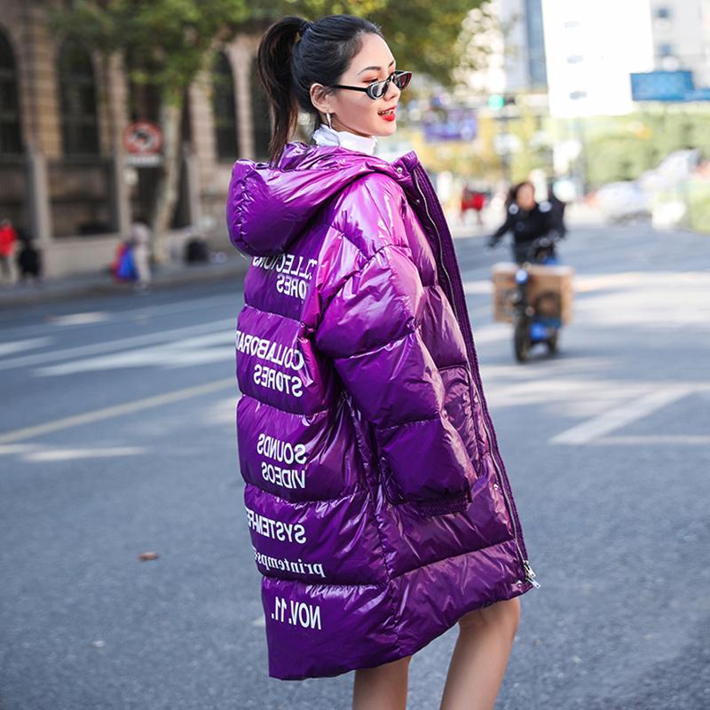 Phong cách dụng cụ thời trang Hàn Quốc áo khoác cotton rộng mùa thu đông 2020 mới in hợp thời trang đầu gối xuống áo khoác cotton nữ mid-length - Bông