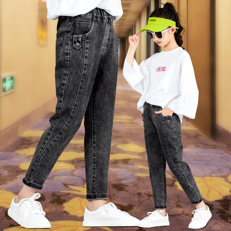 2019加绒裤女童牛仔裤春秋儿童裤子小学生秋冬装女12岁11加厚棉裤
