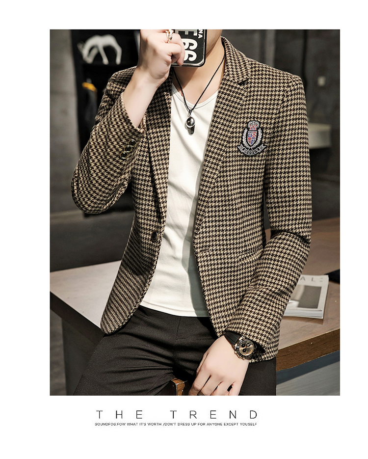 Young Thousand Birds grid slim suit Korean version of the trend Spring and Autumn men's social guy suit jacket British single west 52 Online shopping Bangladesh