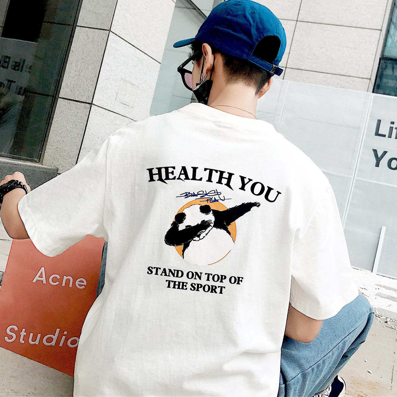 夏季港风短袖情侣T恤男士韩版潮流ins半袖宽松上衣白色嘻哈熊衣服