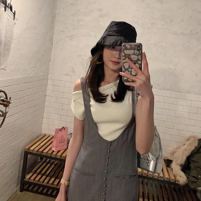 ◆ASM ANNA◆夏季新款t恤 3way穿法基础百搭针织短袖一字肩上衣女