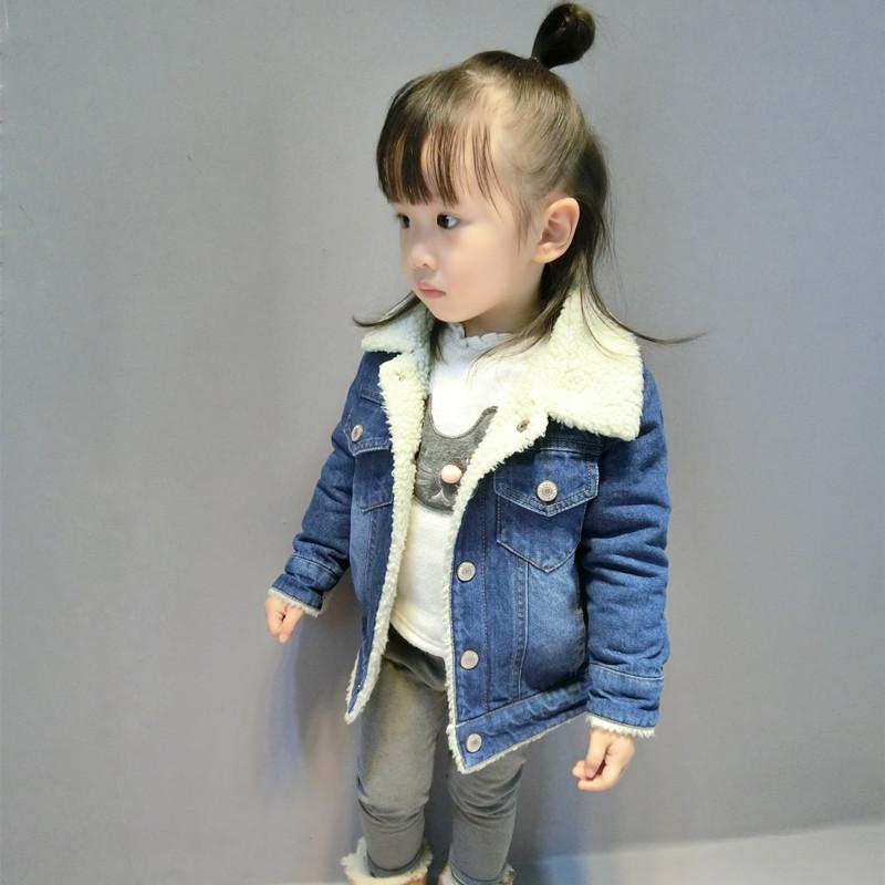 Boys and girls plus velvet denim jacket autumn and winter Korean version of  the winter female 4fbfce7242