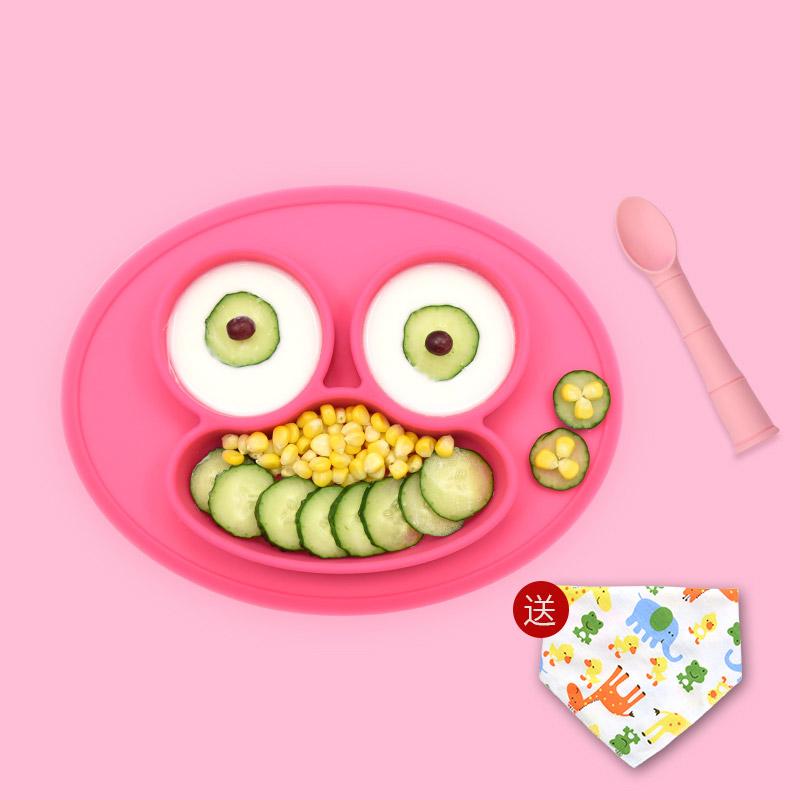 宝宝餐盘硅胶吸盘式分格盘婴儿辅食碗训练吃饭碗防摔儿童餐具套装