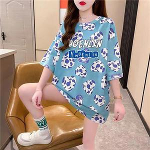 洋气印花字母短袖t恤女2021夏季新款韩版宽松大码打底衫上衣ins潮