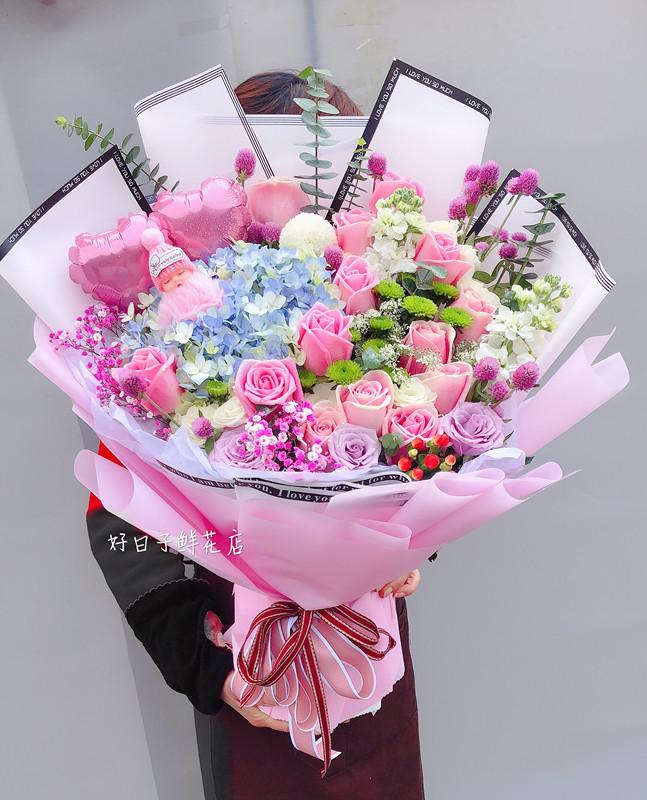 重庆鲜花同城速递送花束闺蜜送花小a鲜花韩式女友绣球生日鲜花上门