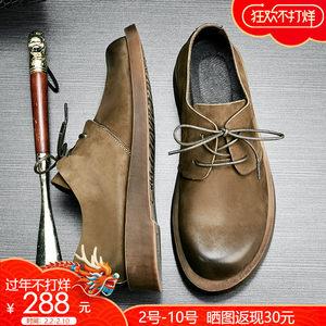 2018春季新款男鞋时尚简约复古皮鞋磨砂真皮大头工装鞋子男士休闲