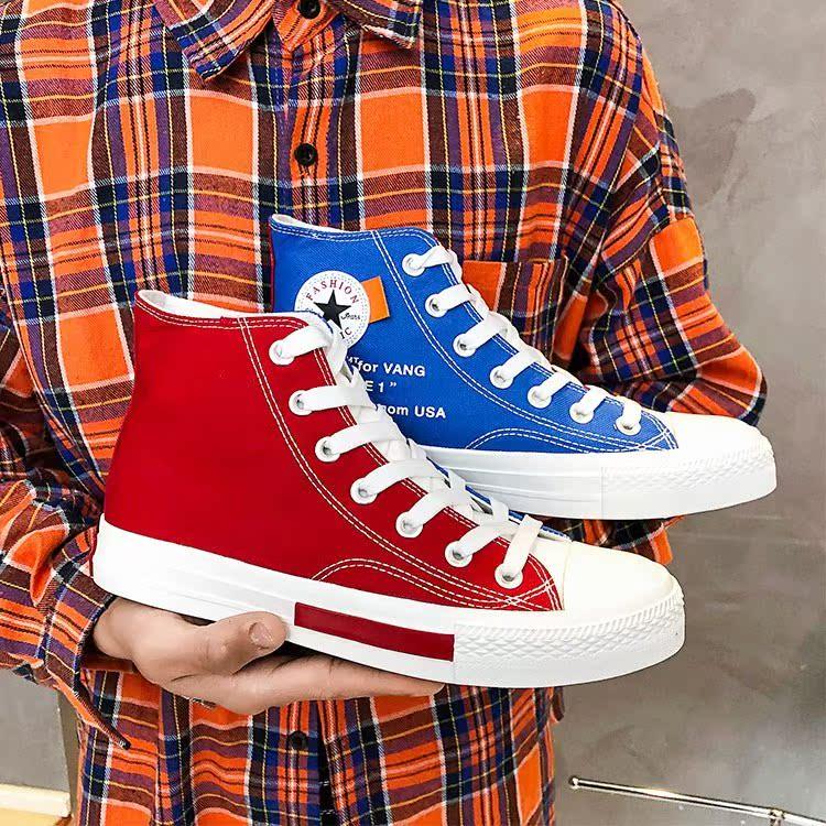 2019运动鞋嘻哈高帮黑白鞋男街拍v嘻哈百搭鸳鸯红蓝双色帆布板鞋