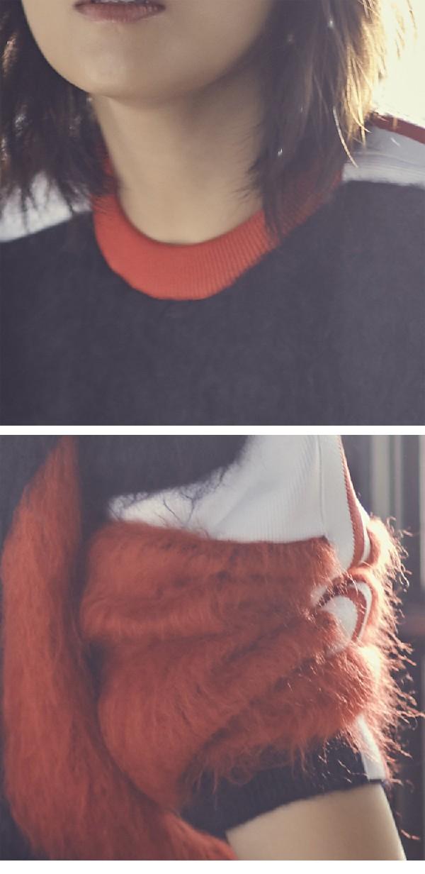 我是真的爱你刘涛明星同款拼色圆领毛衣女宽松套头加厚针织衫