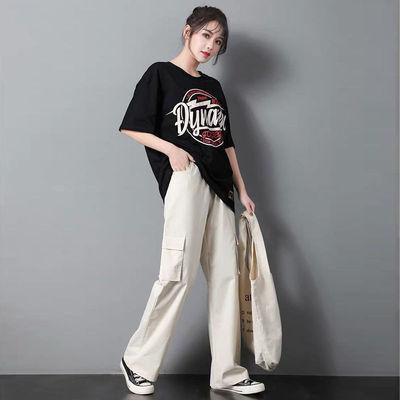 新款ins工装裤学生韩版直筒bf法式显瘦cec运动休闲阔腿裤子女宽松