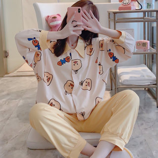 Confinement spring and autumn cotton postpartum long-sleeved pregnant women pajamas maternity August 9 pregnancy breastfeeding nursing suit