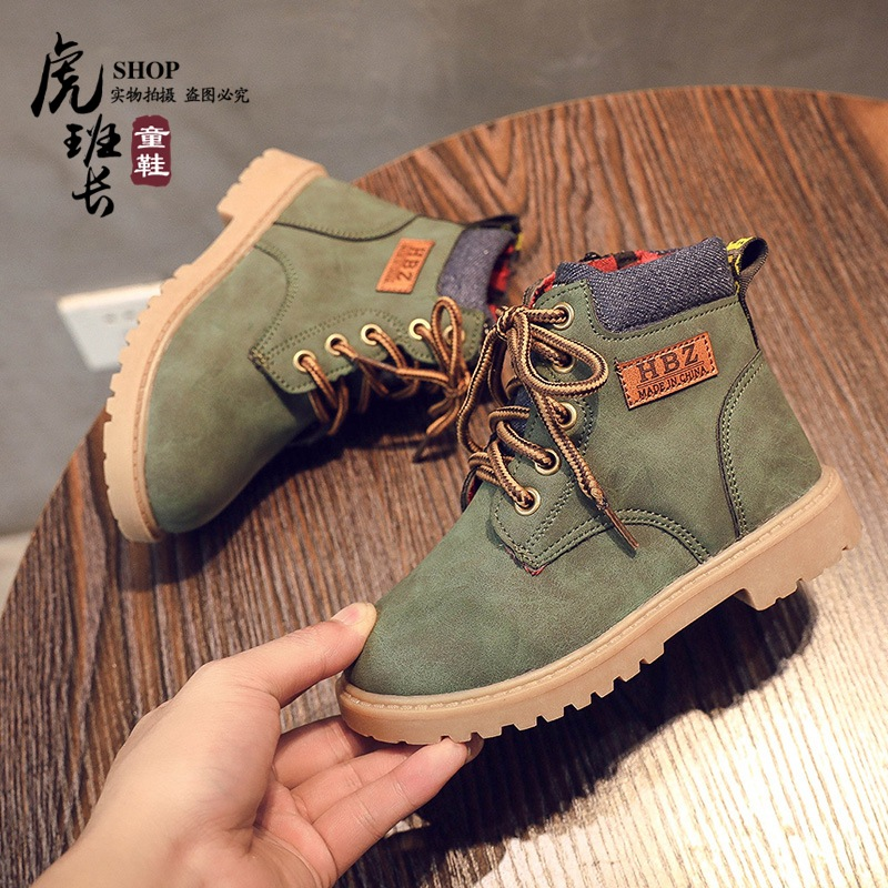Autumn and winter children's Martin boots boys snow boots girls single boots students casual big children cotton shoes tooling boots