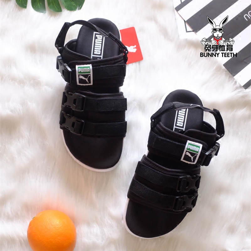 b86817f2f5c Puma Leadcat YLM Beach Sports Puma sandals slippers black and white couple  shoes 365630 01-02
