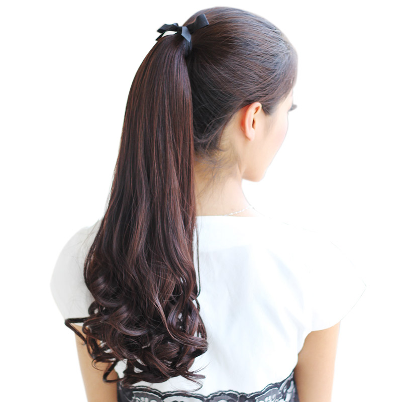 78250de8aa Wig ponytail female long curly hair banded pear flower fake ponytail big  wave realistic long section ...