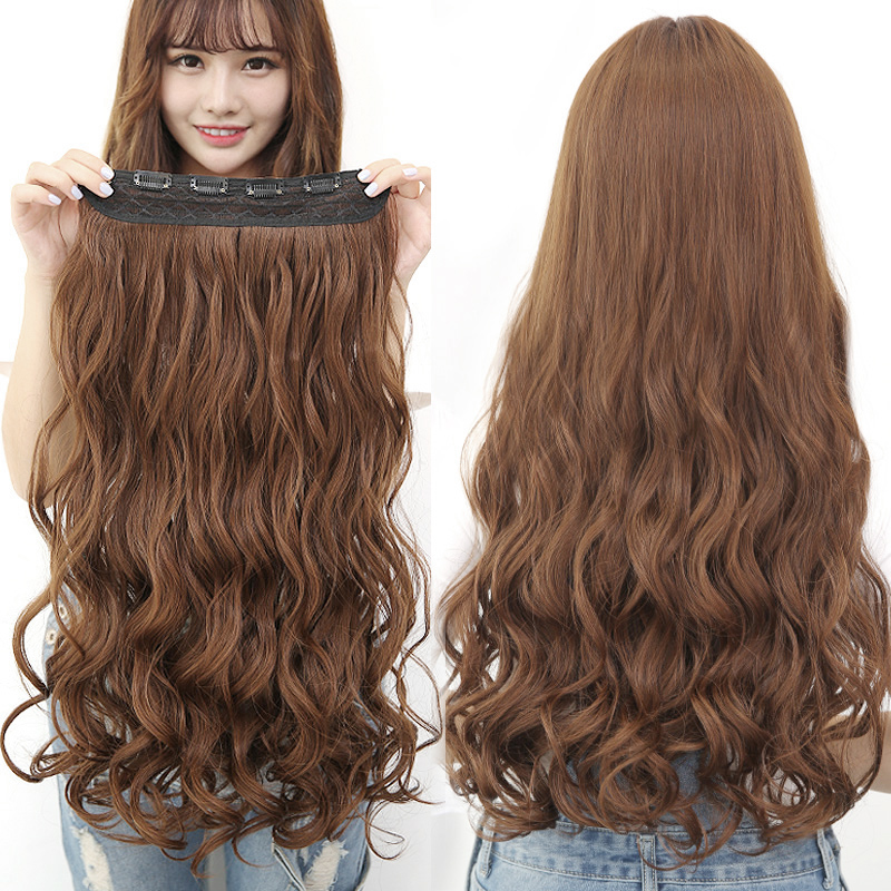 Wig Female Long Curly Hair Big Wave Wig Piece One Piece Net Red Cute