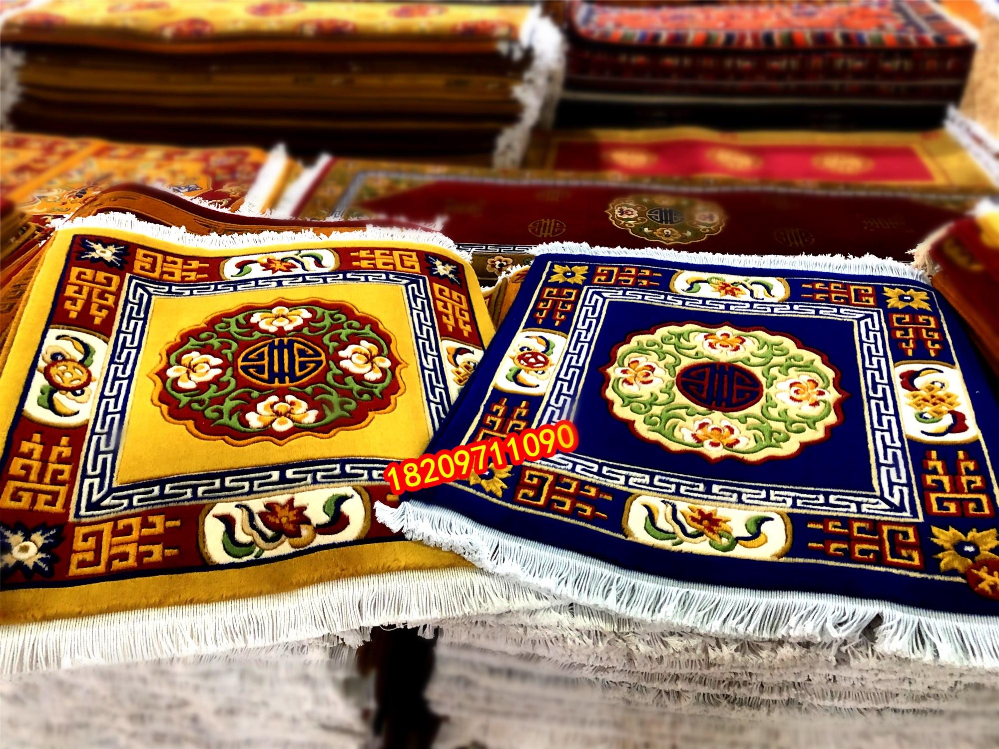 藏式半羊毛精品地毯 家居用品 沙发垫 拜垫 金刚十字杵图案 桔色