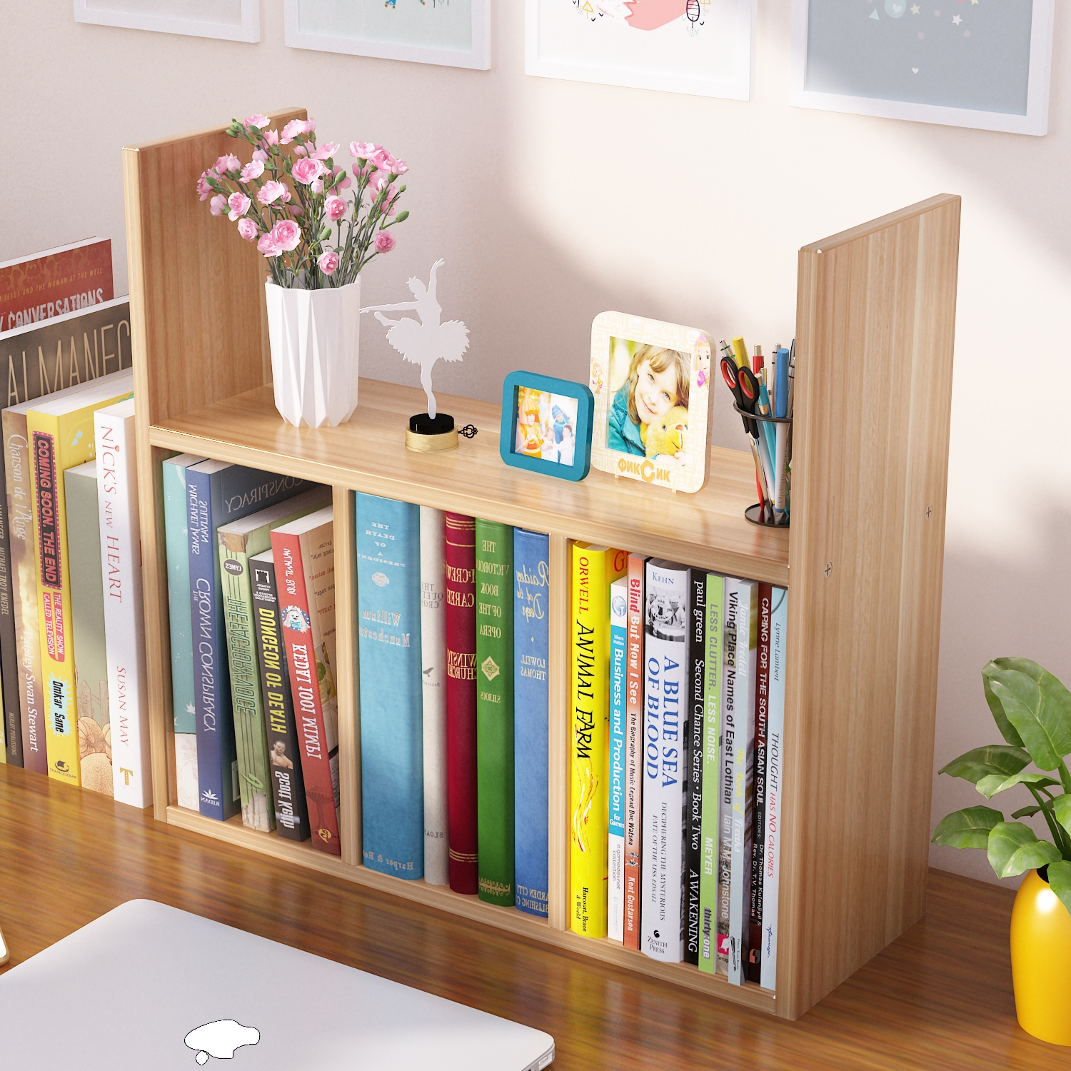 Simple small bookcase bookcase combination table floor rack student dormitory desk table top storage rack simple children