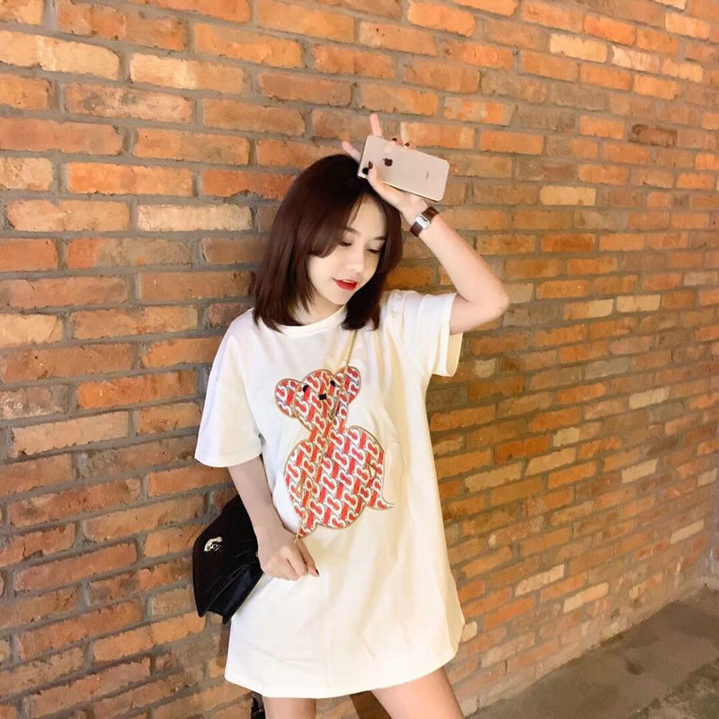 Fashion brand womens summer embroidery bear short sleeve cotton Korean version loose t-shirt top female super fire in the long section ins