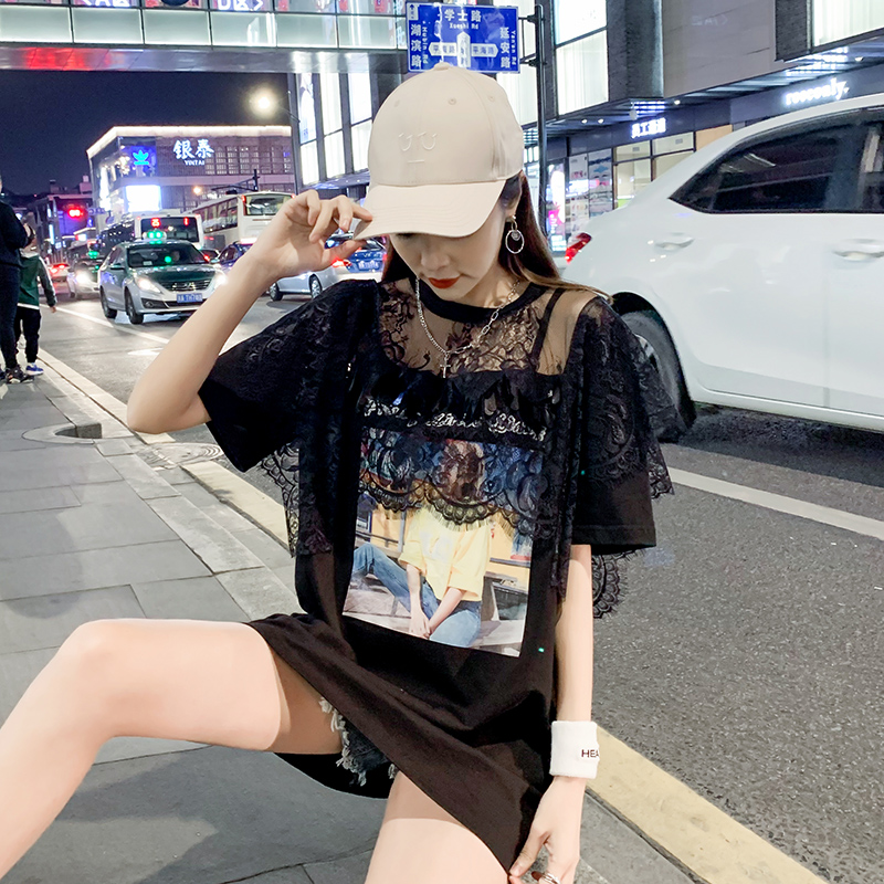 South Korea t-shirt womens short-sleeved summer 2021 Korean version of fashion new lace splicing t-shirt skirt loose middle-long top