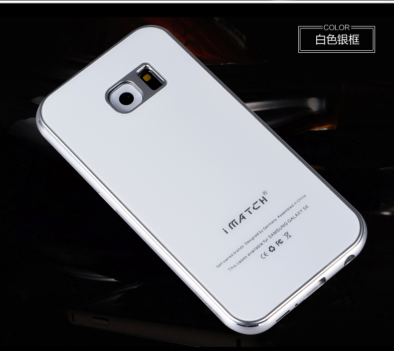 iMatch Aviation Aluminum Alloy Metal Bumper Tempered Glass Back Cover Case for Samsung Galaxy S6 Edge Plus G9280