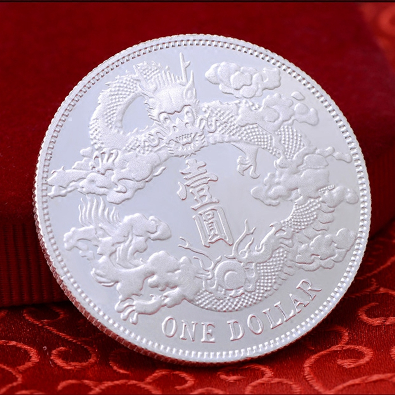 999 sterling silver dragon and Phoenix pattern one round coin foot silver collection value-added silver silver silver silver bullion silver ingot