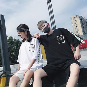 FMK夏季男女情侣INS超火复古串标调查问询表印花短袖嘻哈潮牌T恤