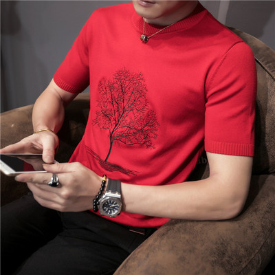 Men's tight society guy knit shirt half-sleeve trendy fashion thickened short-sleeved sweater men's clothing sweater tide