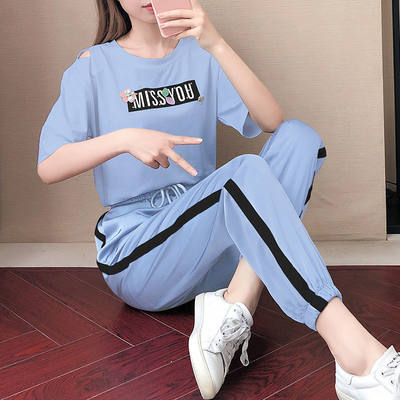 Sports set female summer 2021 new casual fashion two-piece 气 百 大 码 松 显 套 套 套