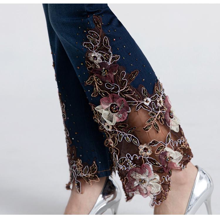 春季高腰钉珠蕾丝绣花微喇叭牛仔裤女士薄款修身显瘦大尺码九分裤子详细照片