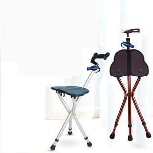 老人四脚多功能轻便带凳子可坐三脚拐杖凳