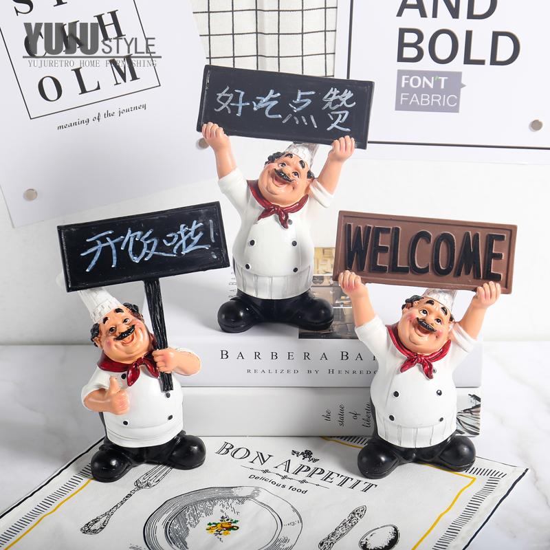 欧式复古家居小餐厅吧台摆设咖啡馆创意摆件蛋糕店厨师装饰品酒吧