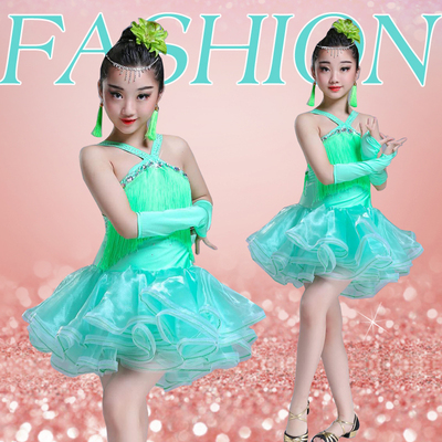 Children's Latin dance dress girls tassels bright diamond dance competition clothing children's Latin show costume red