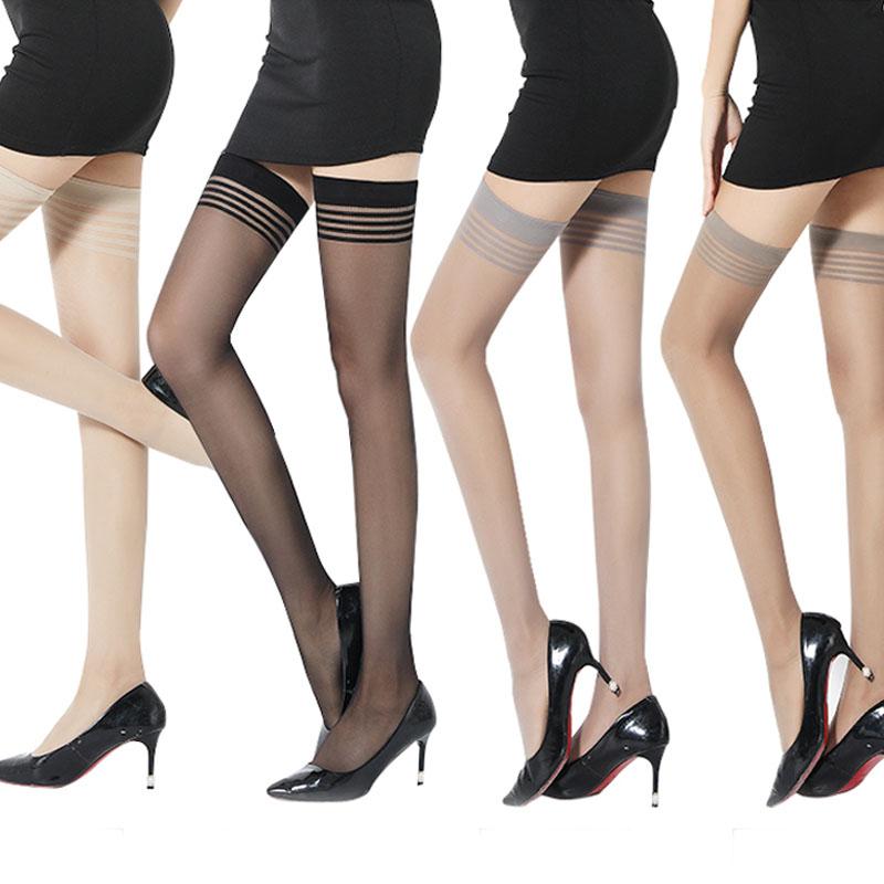 浪莎长筒丝袜女高筒夏季超薄款防勾丝防滑半截黑肉色过膝大腿袜子